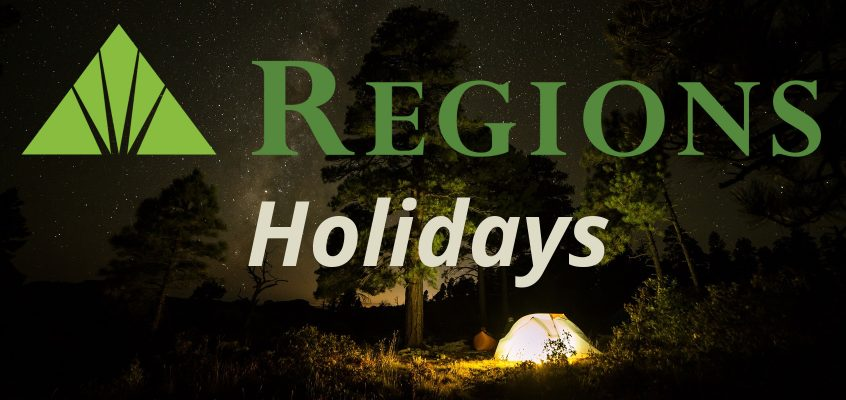 Regions Bank Holidays for 2020, 2019, 2018